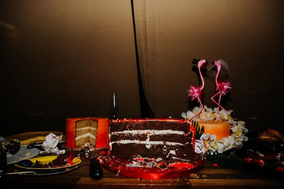 demolished wedding cake